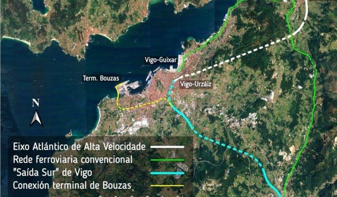 La salida sur, en verde, con el ramal. Supondría un cambio total en el uso del tren en Vigo.