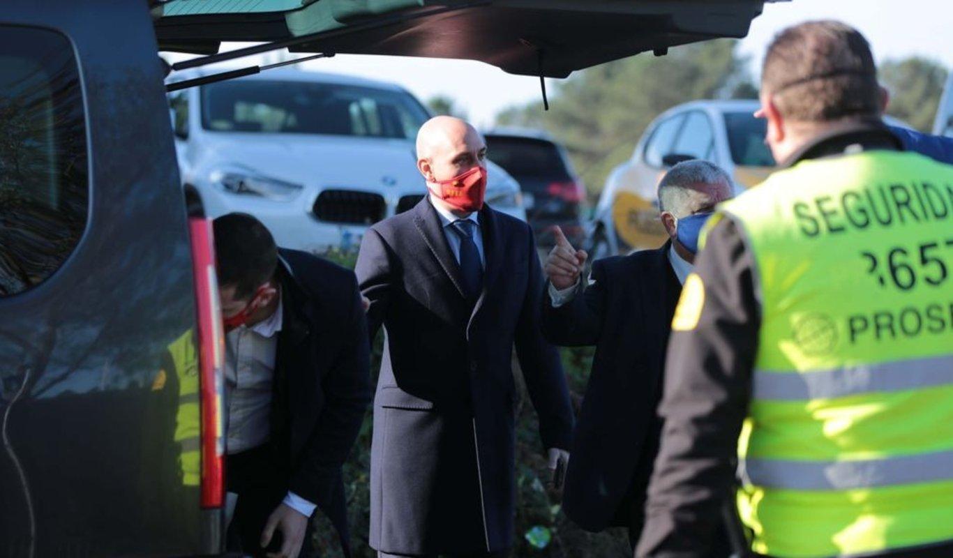 El presidente de la Federación Española, a su llegada a Mos.
