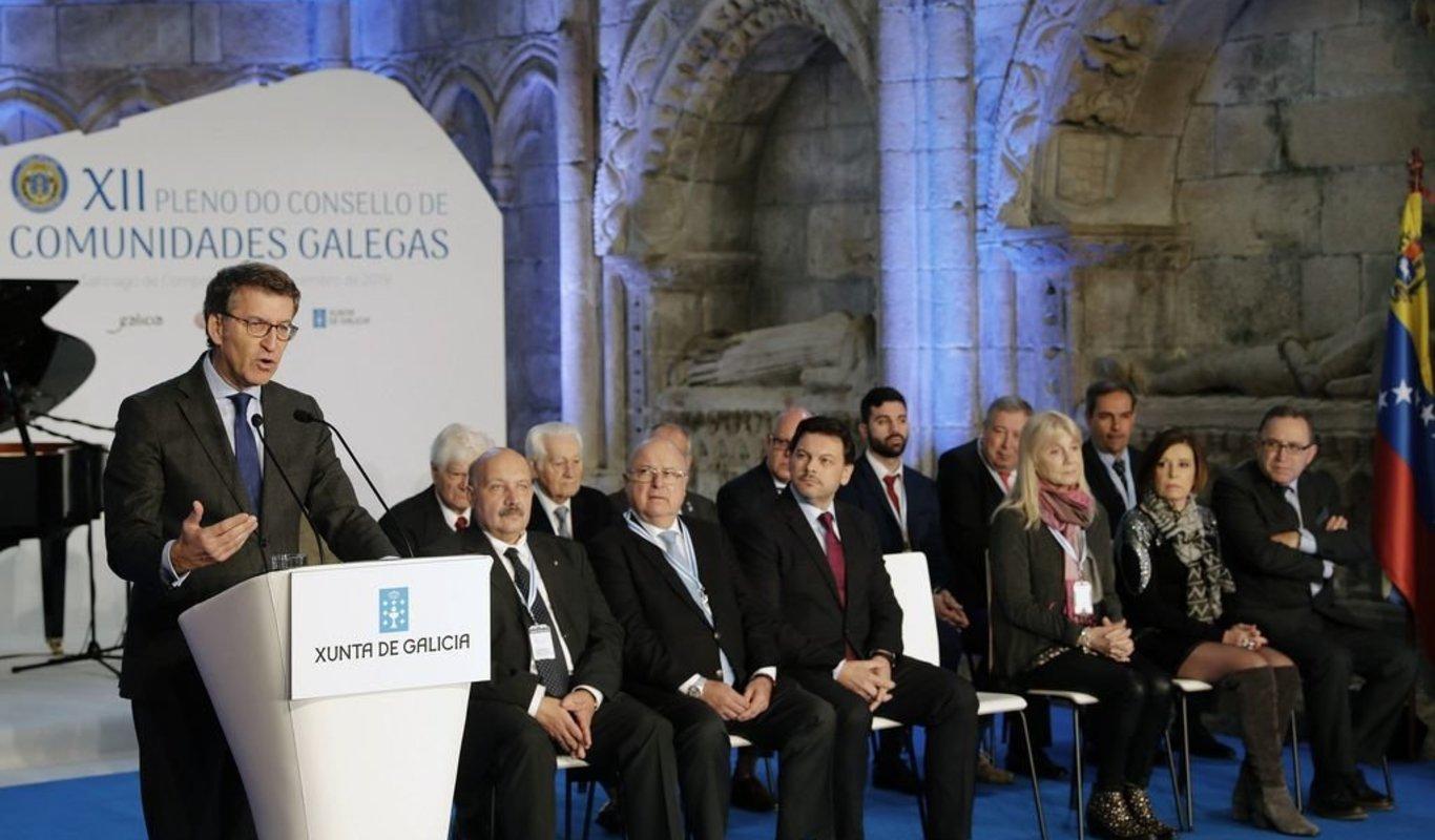 Feijóo, durante su intervención en el XII Pleno do Consello das Comunidades.