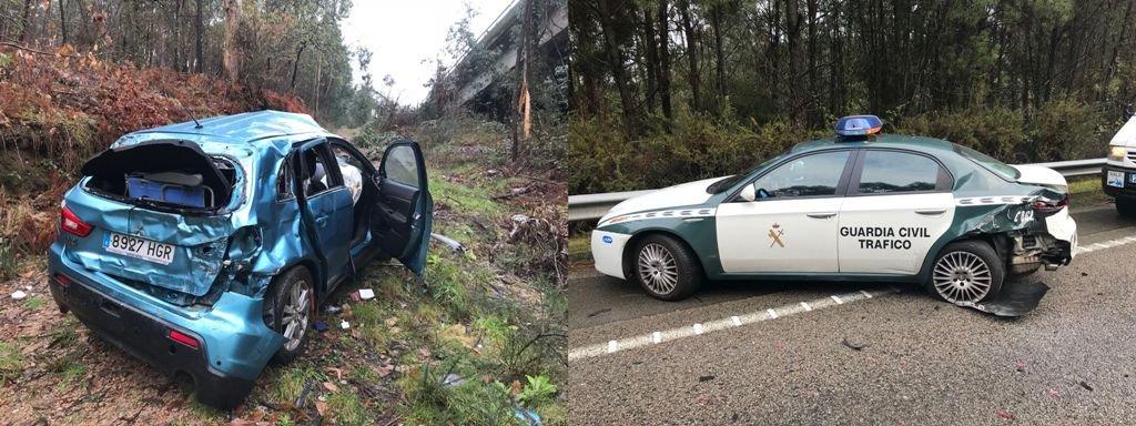 Uno de los vehículos que se salió de la vía y estado en que quedó uno de los coches de la Guardia Civil.