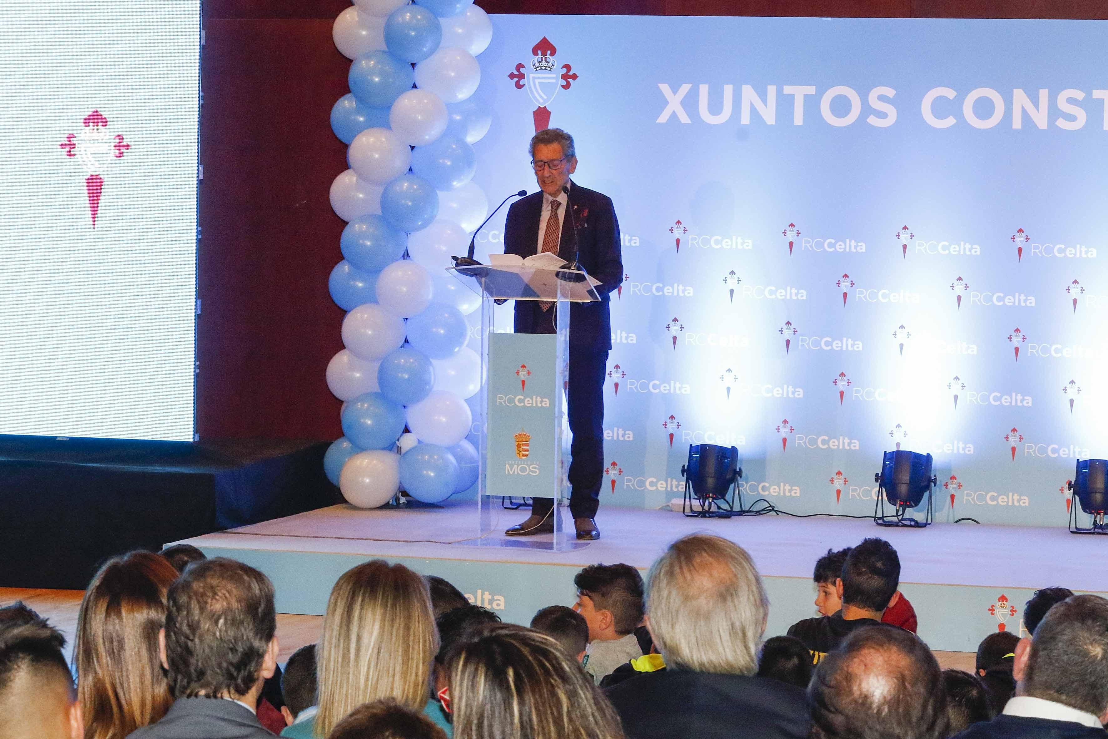 Carlos Mouriño en la presentación del proyecto de lanueva ciudad deportiva del Celta en Mos el pasado diciembre.
