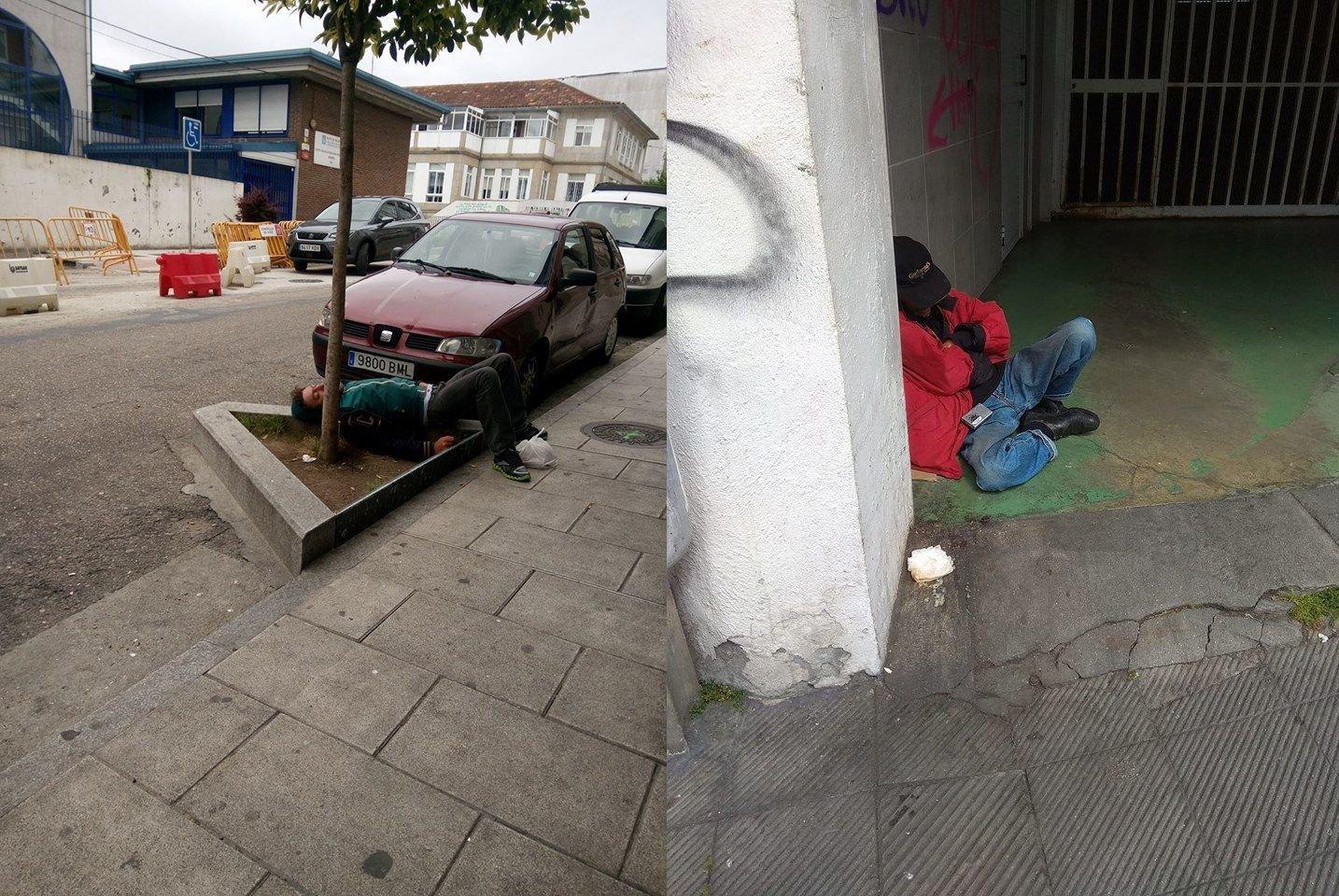 Imágenes tomadas por los vecinos de personas durmiendo en la calle, uno frente al albergue