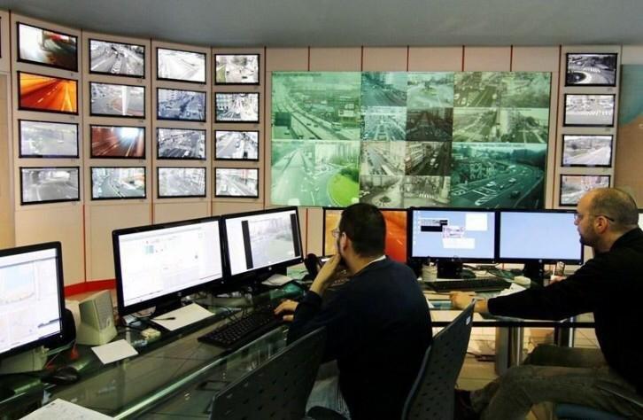 La sala de control de tráfico del Concello.