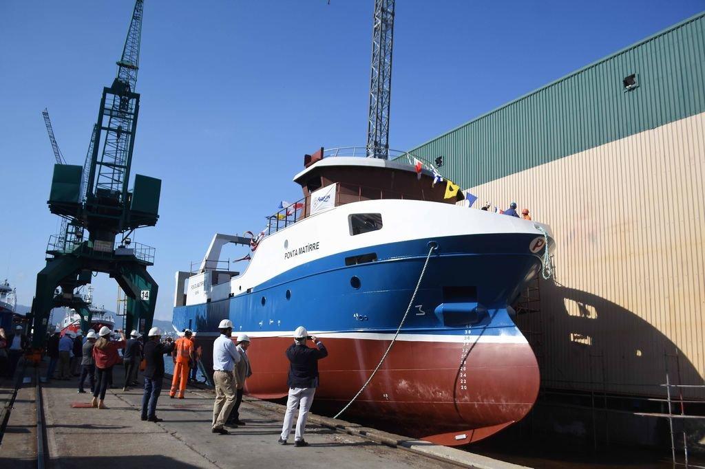 Botadura en Armón de un buque congelador para Nueva Pescanova el mes pasado.